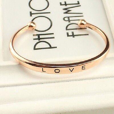 Beautiful Gold Silver Rose Gold LOVE Bracelet Bangle Cuff Metal Alloy