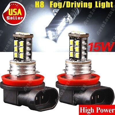 2PCS Super Bright H8 15W Fog Driving DRL Headlight LED Bulbs Lamps New 12V US