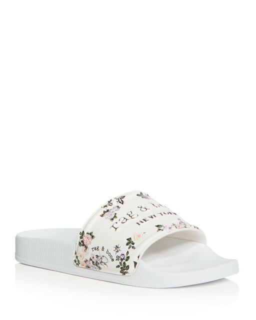 f4c2116232a3 rag   bone women s Floral Print Pool Slides Sandals Sz 40 10 Garden Floral  White
