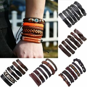 15c5144a6c9 6pcs/set Men's Jewelry Punk Leather Wrap Braided Wristband Bracelet ...