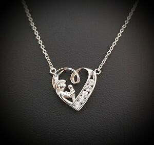 925-Sterling-Silver-Round-Diamond-Mother-amp-Child-Heart-Pendant-Necklace