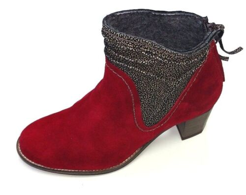 DKODE Candy Chaussures Femmes Bottes Bottine Cuir Rouge