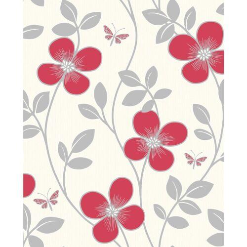 LUXURY TEXTURED VINYL CREAM RED SILVER FLOWER BUTTERFLY WALLPAPER FD40447