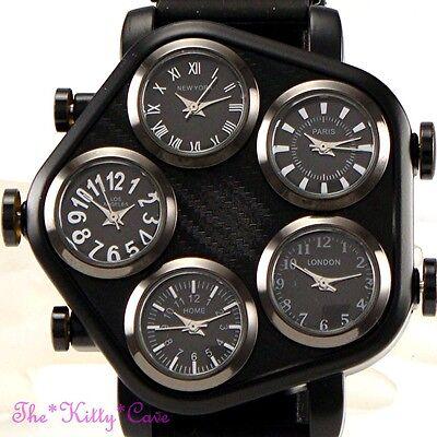 Unusual Black Gunmetal 5 Zone Multi Dial World Time Mens Hip Hop Gangster Watch
