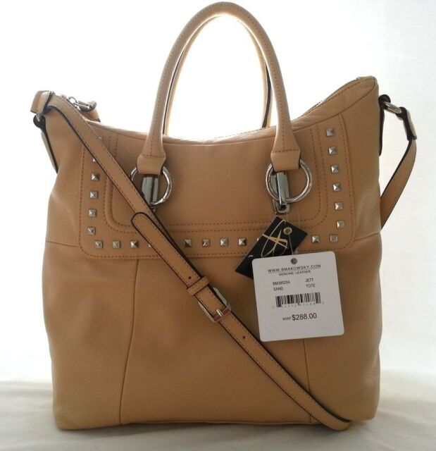 B Makowsky Jett Leather Tote Shoulder Bag In Sand Nwt Srp 288