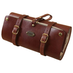 Leather Mens Shaving Dopp Kit Case Hanging Toiletry Roll Brown USA ... d82034b41bd01