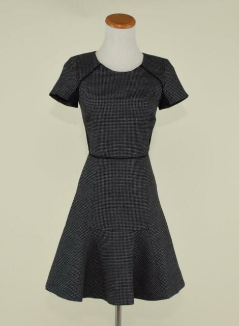 J Crew Checkered Wool Flutter Dress 4 Black Grey Work Office Tweed F5923