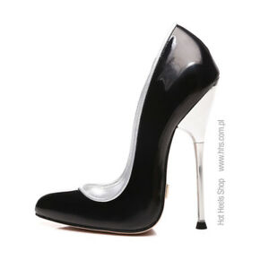 Giaro BABY Black Shiny pumps with silver heel