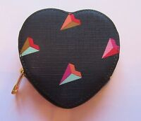 Fossil Vday Heart Coin Purse - Black Background Pink Brown Orange Green