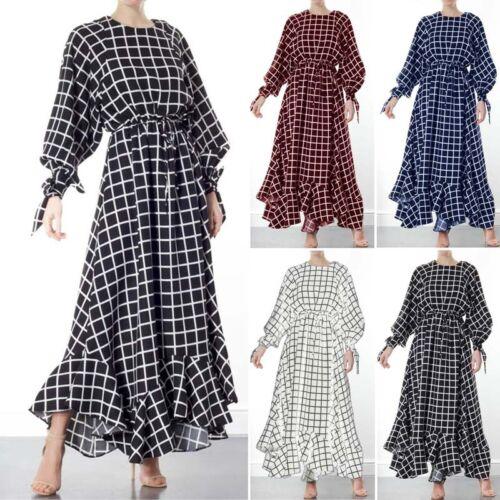ZANZEA Women Lantern Sleeve Long Shirt Dress Waterfall Plaid Check Maxi Dress