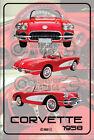 Parking Sign Metal Chevrolet Corvette 1958 Convertible - Red -08