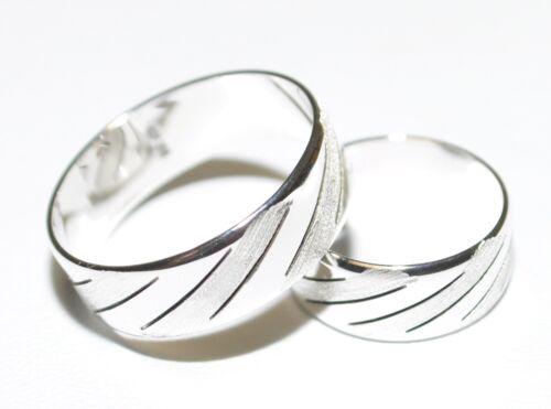 boda alianza-anillo de pareja-con patrón 925 plata-anillo de bodas- 7mm de ancho-novedad