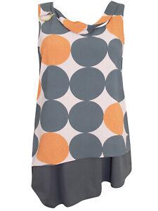 New-Ex-NEXT-Grey-Orange-Sleeveless-Tie-Side-Blouse-Top-Size-10-12-Circle