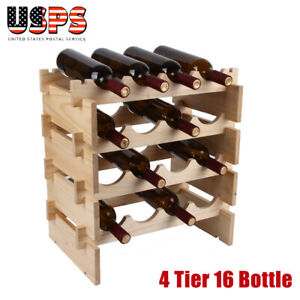 4-Tier-16-Bottle-Wood-Wine-Rack-Holder-Stackable-Organizer-Home-Display-Storage
