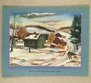 1930s-40s AMERICAN ARTISTS GROUP Christmas Card EMIL GANSO Bringing Tree Home