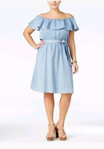 Details about American Rag Plus Size Off-The-Shoulder Chambray Dress Size 2X