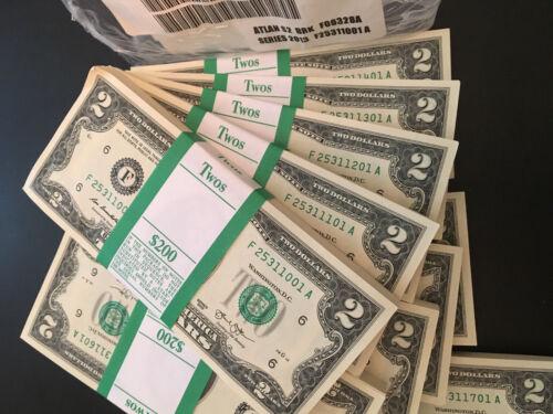2013 $2 Two Dollar Bill pack of 100 BEP strap ATLANTA straight out of BEP BRICK
