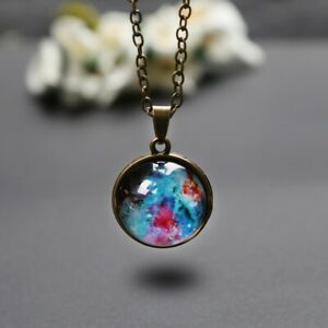 NEW-Necklace-Glass-Ball-Solar-Galaxy-Pendant-Moon-Space-Universe-Birthday-gift