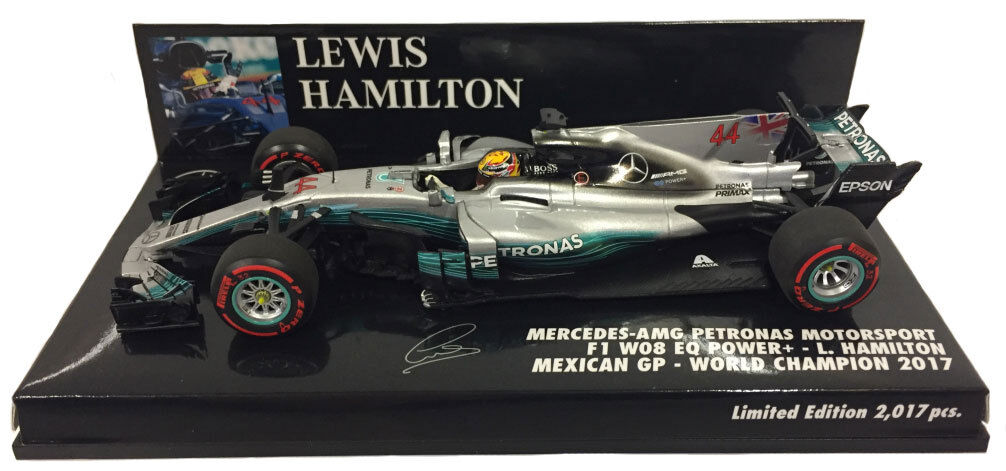 suministro de productos de calidad Minichamps Mercedes W08 W08 W08 MEXICAN GP 2017 campeón del mundo Lewis Hamilton Escala 1 43  autorización oficial