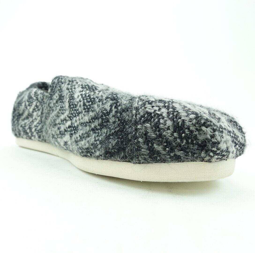 Toms Women Shoes Size 6 Alpargata Casual Footwear Slip On Flats Gray Black Woven