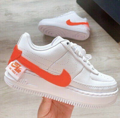 Nike Women Air Force 1 Jester White Orange Size Size 6 Ebay