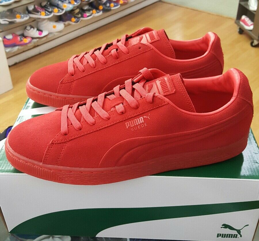 PUMA SUEDE EMBOSS ICED 361664 03 HIGH RISK RED MENS US SZ 10