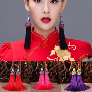 Women-Fashion-Long-Tassel-Fringe-Ethnic-Embroidery-Hook-Earrings-Dangle-Bohemian