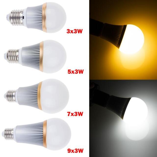 Dimmable E27 LED Ampoule Spotlight Lamp Globe Bulb 9W 15W 21W 27W Warm Day White