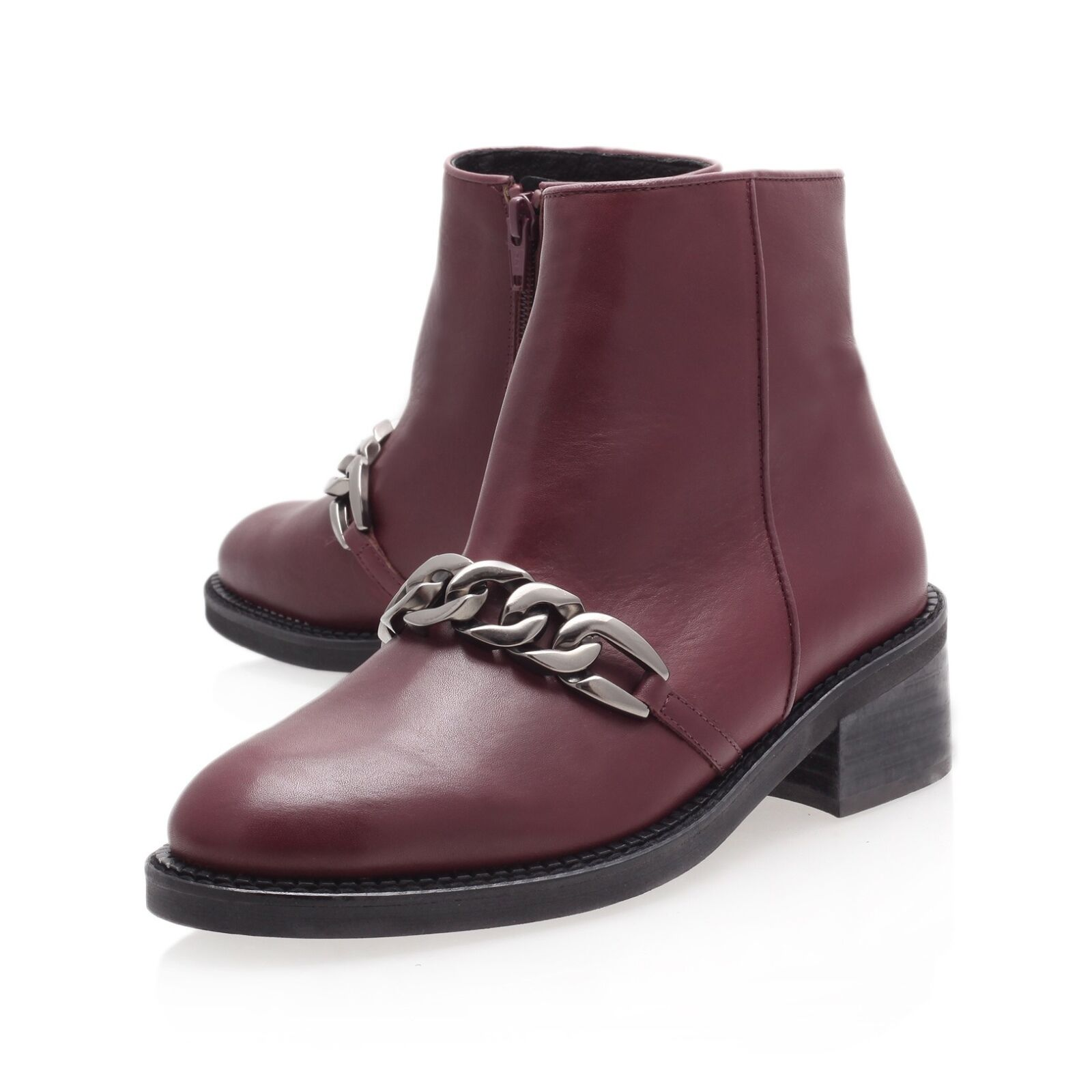 KG ANKLE BOOTS ..   / CHUNKY CHAIN / WINE LEATHER / ANKLE .. UK 5   EU 38