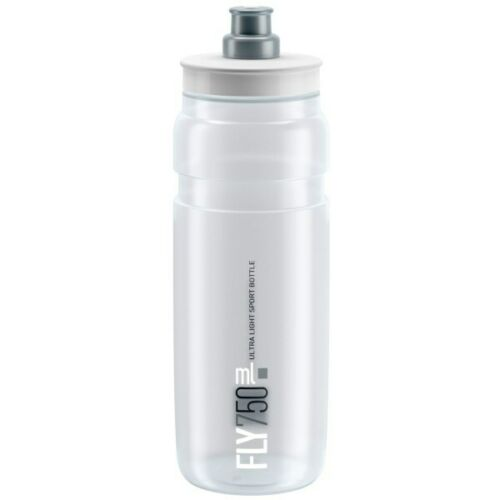 Clear New Elite FLY Cycling Water Bottle 750 ML White