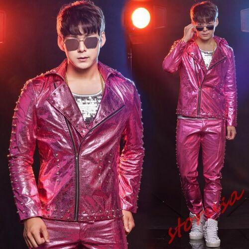 Mens Bar Singer Costume Punk Rivets Jackets Slim Fit 2pcs Coat+Pants Rocker Sets