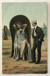 Illustrated-Postcard-Man-Admiring-Woman-Sitting-In-Chair-On-Beach-Ocean-vtg-AA