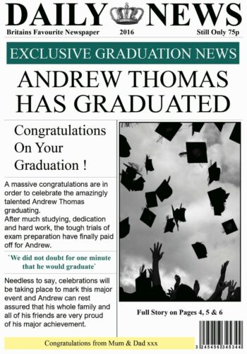 Gorgeous ! Personalised Newspaper Effect Graduation Card