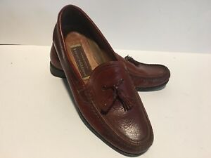 Johnston & Murphy Handcrafted Brown Leather Tassel Dress Loafers Size US 10 M