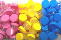 12 Empty Jars 1tsp 1/4oz Container Cute Reusable Screw Top Yellow Pink Blue Lids