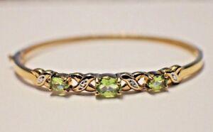 Silver-925-Yellow-Gold-Plated-Green-GemStone-Bracelet-Ladies