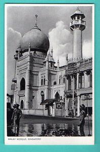 Singapur-Malay-Moschee-Vintage-Postkarte-291