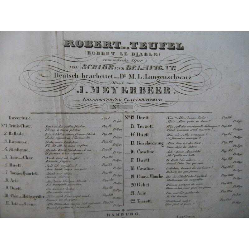 MEYERBEER G. Robert der Teufel Opéra Chant Piano XIXe partition sheet music scor