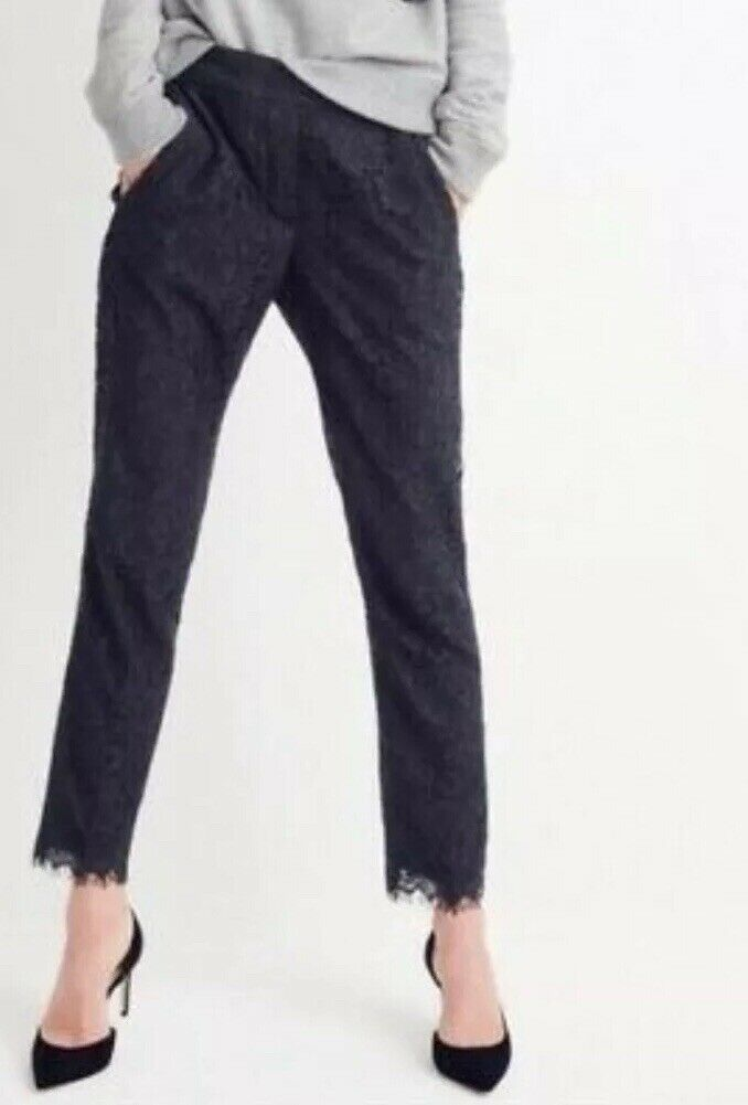 New J Crew Easy Pant in Lace Navy Sz 2 F8766