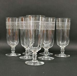 99835442 Set 7 Kristall-Biergläser Etched Decoration Art Nouveau