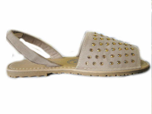 Spot On H0127 Girls Nude Synthetic Suede Slip On Summer Sandals