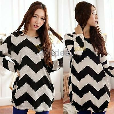 Fashion Womens Black White Long Sleeve Round Neck Loose T-Shirt Blouse Tee Tops