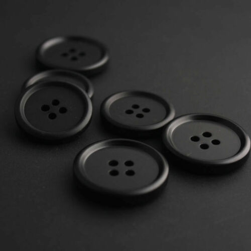 10-50PC Classic Black Resin Coat Button 4 Hole Sewing Crafts 15//18//20//23//25//28MM