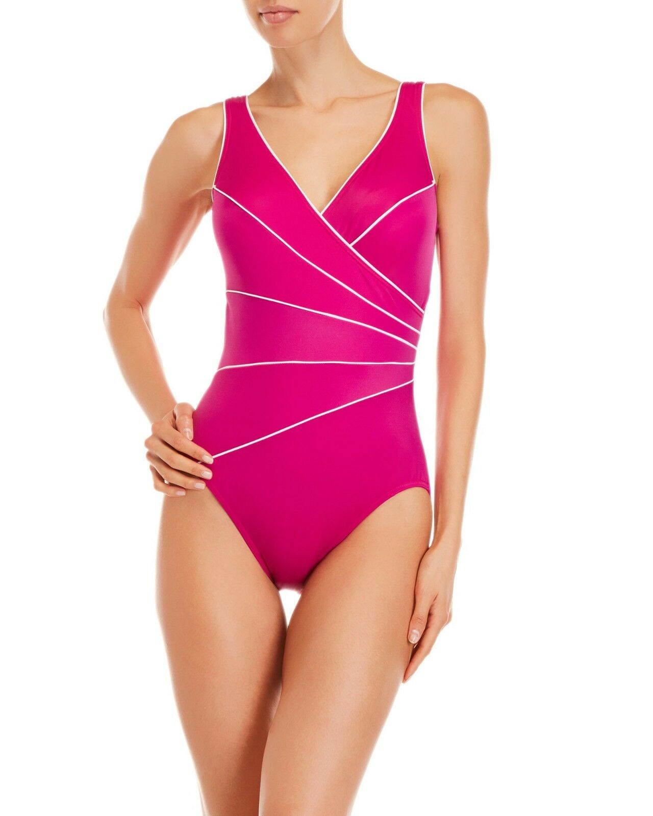 NEW MIRACLESUIT Size 18 48 Horizon Pink White One PIECE SWIMSUIT  150 Retail