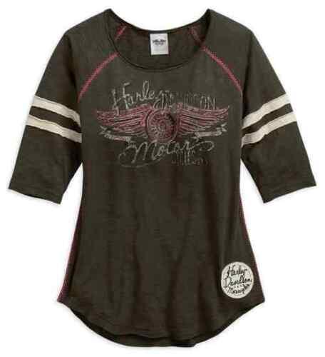 Olive Noire Genuine Harley-Davidson femme rayures Raglan T-shirt manches
