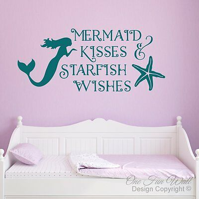 Mermaid Kisses Quote Vinyl Decal for laptop windows wall car boat
