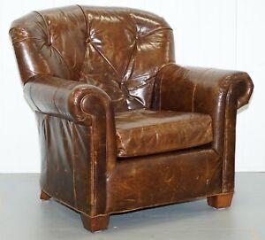 Ralph Lauren Fauteuil.Large Vintage Aged Brown Leather Ralph Lauren Club Armchair