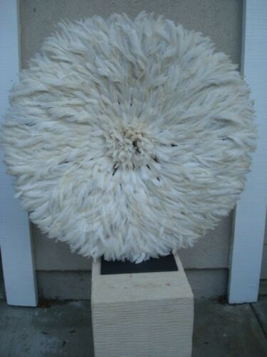 "32"" White African Feather Headdress Juju Hat 1st. Quality New Shipment"