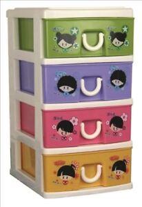 Cassettiere E Contenitori Di Plastica.Dettagli Su Cassettiera In Plastica 4 Cassetti Contenitore Portaoggetti Con Disegni 64154