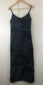 Jacqui-E-Womens-Dress-Size-10-Blue-Black-Silk-Floral-Shoestring-Long-Maxi